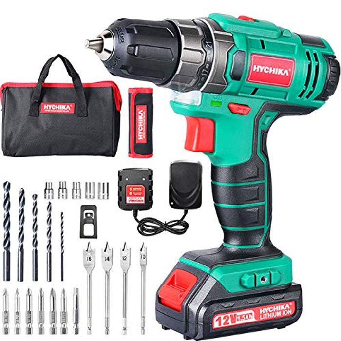 DEAL STACK - Cordless Drill 12V, HYCHIKA Electric Drill + 8% Coupon