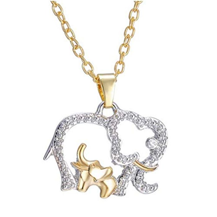 Pendant Necklace Silver Mom & Baby Elephants