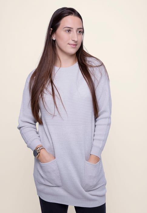 Womens Grey Long Length Jumper