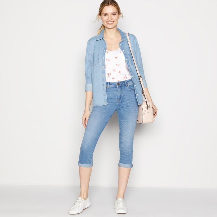 Principles - Light Blue mid Rise Light Wash 'Maisie' Cropped Jeggings