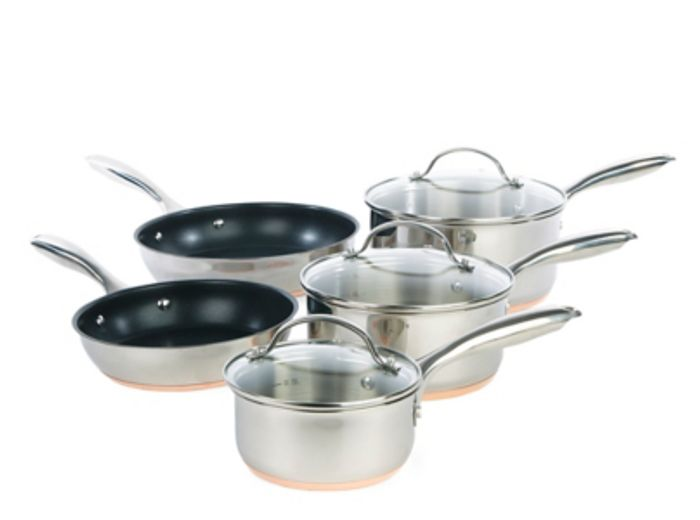 Stainless Steel Copper Base 5 Piece Pan Set & 15 Year Guarantee & Free Delivery