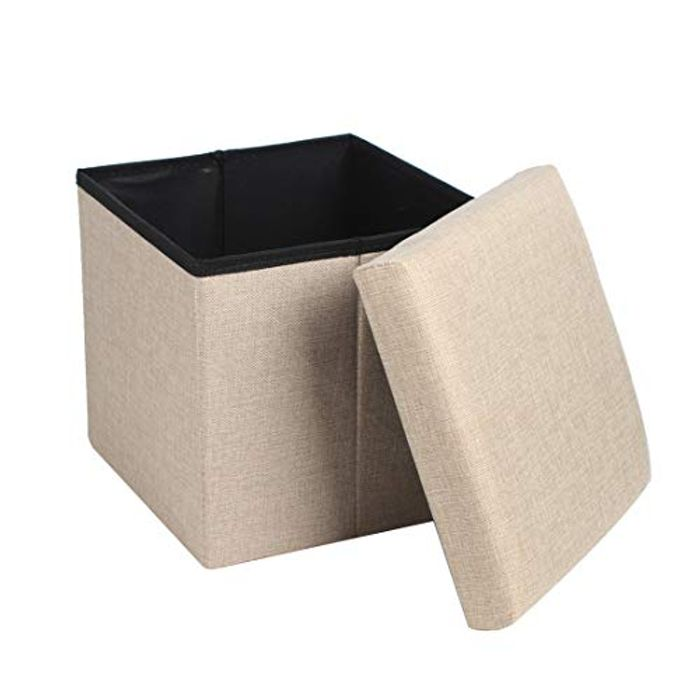 Queiting Folding Storage Ottoman Single Seat Beige FREE Delivery