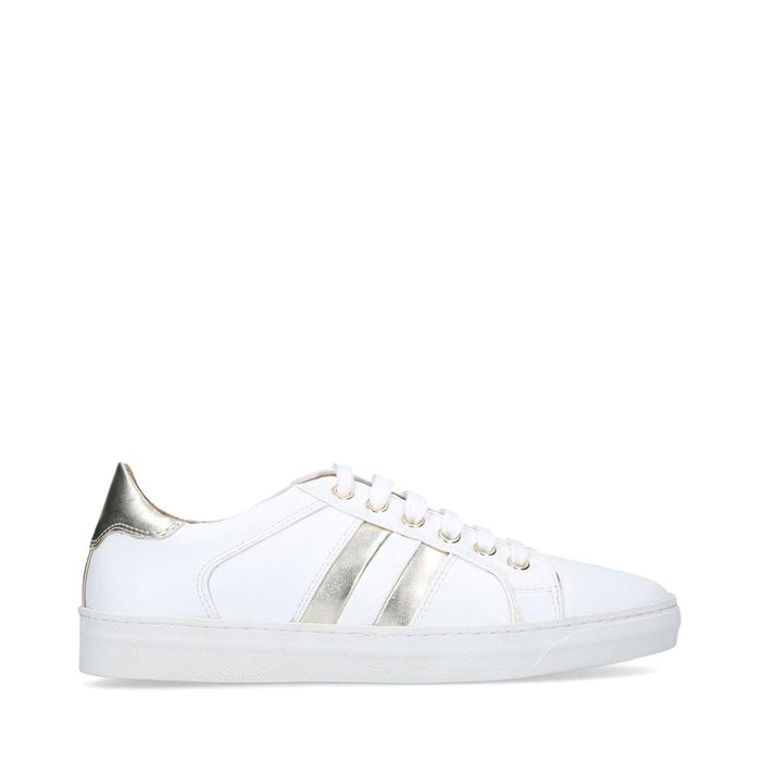 Nine West - White 'Stripe' Lace up Trainers Size 3