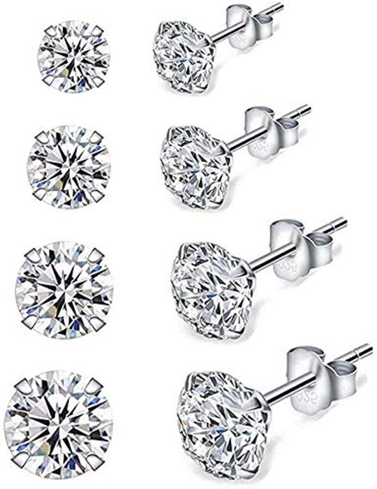 4 Pairs 925 Sterling Silver Cubic Zirconia  ( Lightning Deal & £3 Voucher)