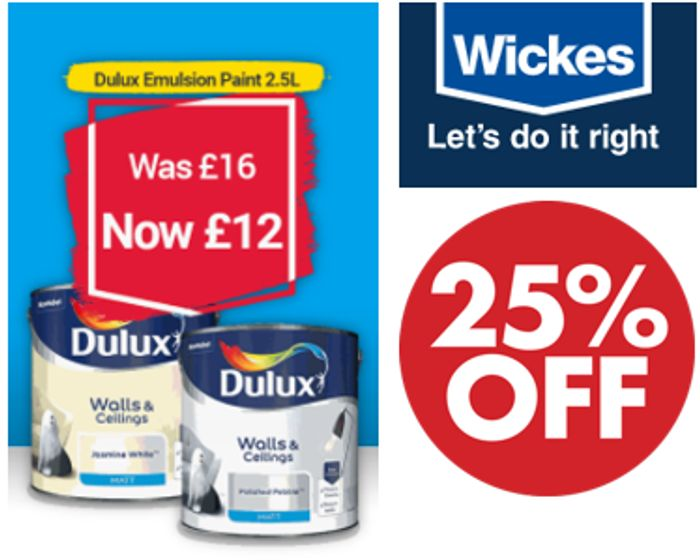 Cheap Dulux Emulsion at WICKES - 25% Off