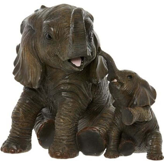 OUT of AFRICA Brown Elephant Calves Statue 19x22cm