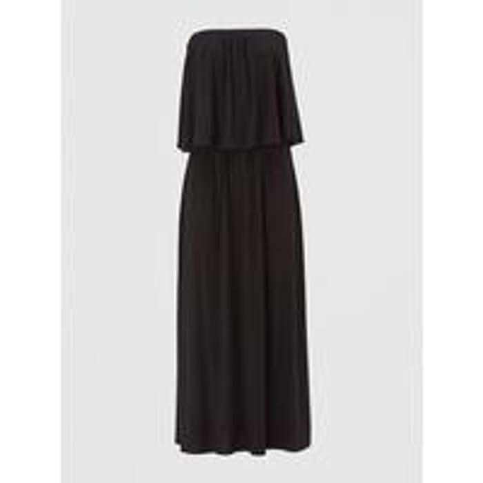 V by Very Bandeau Jersey Midi Dress - Black