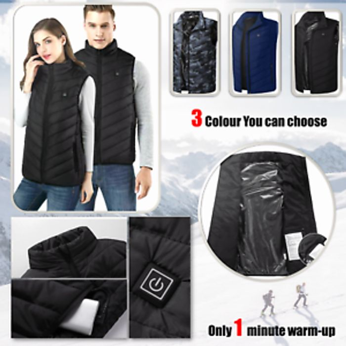 Electric Heated Vest Jacket USB Warm Up Heating Pad Body Warmer - Free Del