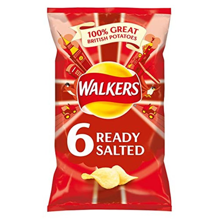 Walkers Ready Salted Multipack Crisps, 6 X 25 G