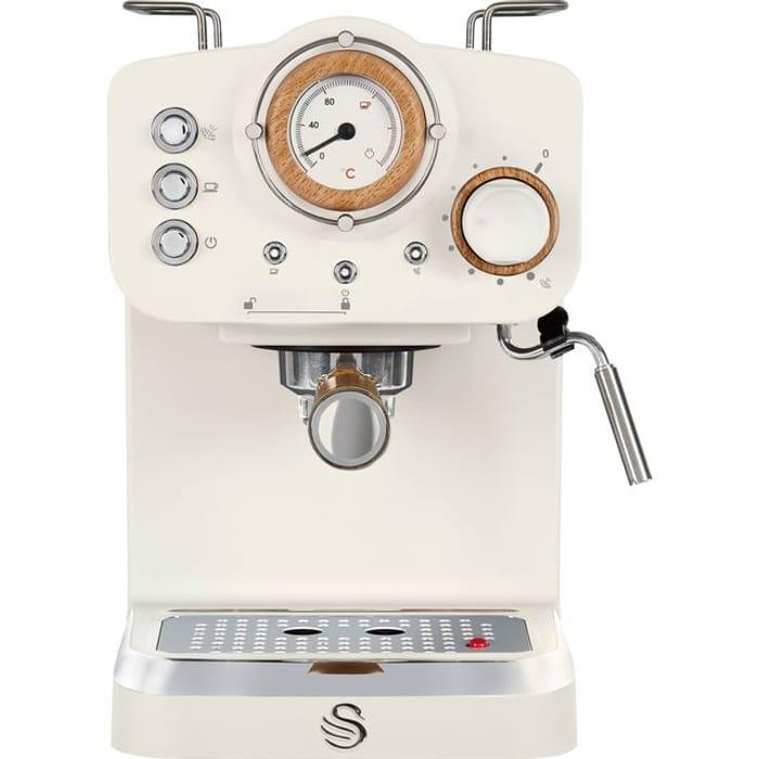 Swan Nordic Retro Style Espresso Coffee Machine - White Free Del.