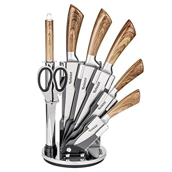 Knife Block Sets, 8-Piece Stainless Steel Kitchen Set - Wood Color Design