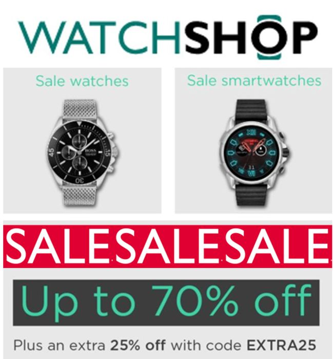 WATCHSHOP SALE - up to 70% off + EXTRA 25% off CODE