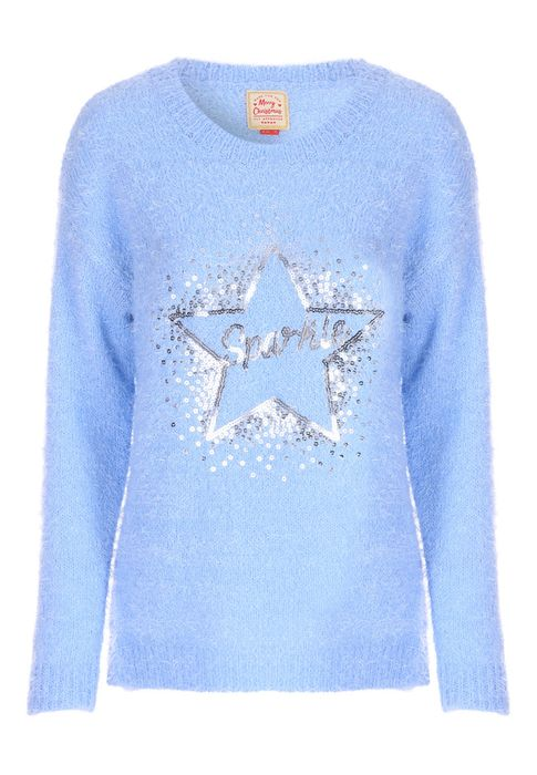Womens Blue Sparkle Slogan Christmas Jumper