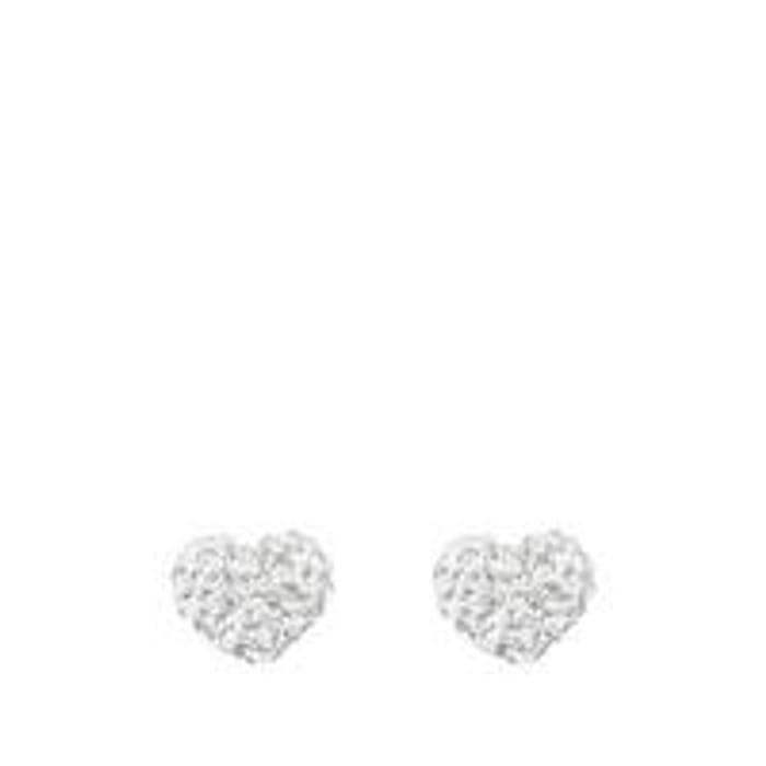 Sterling Silver Crystal Heart Glitter Studs
