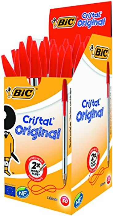 Bic Cristal Original Ballpoint Pens, Medium Point (1.0 Mm), Red