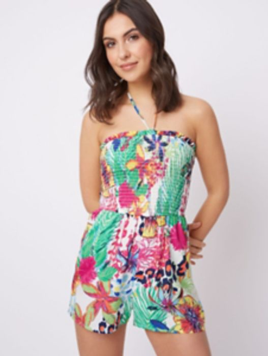 Tropical Print Shirred Playsuit Cover Up