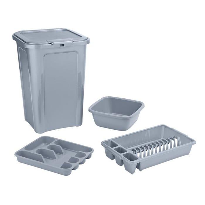 Argos Home 4 Piece Kitchen Bin Set - Grey Saving 25%