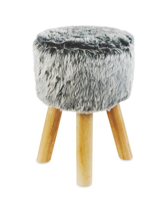 Round Short Faux Fur Stool - Various Options