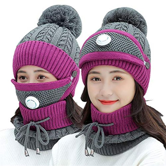 Metyere 3PCS Womens Winter Scarf Set Thickend Knitted Hat Scarf Face Cover