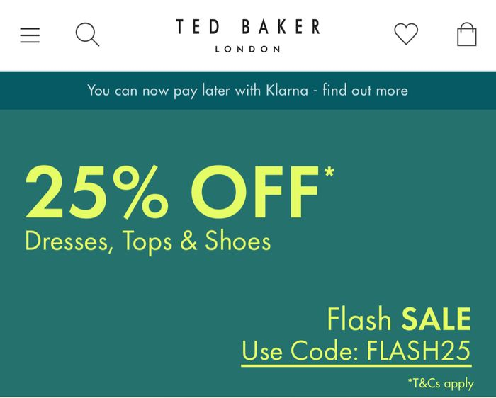25% Off Flash Sale Voucher Code at Ted Baker