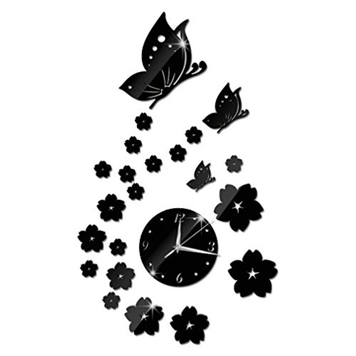 Mirror Wall Butterfly Flower 3D Clock