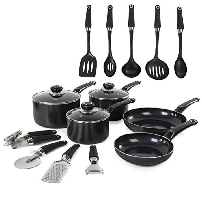 Morphy Richards Equip Frying Pan and Saucepan Set Includes 9 Piece Tool Set