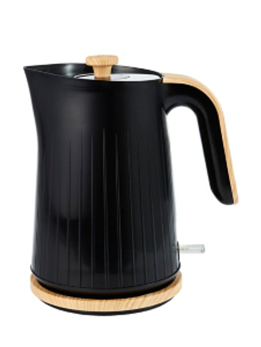 Black and Wood Textured Scandi Fast Boil Kettle 1.7L