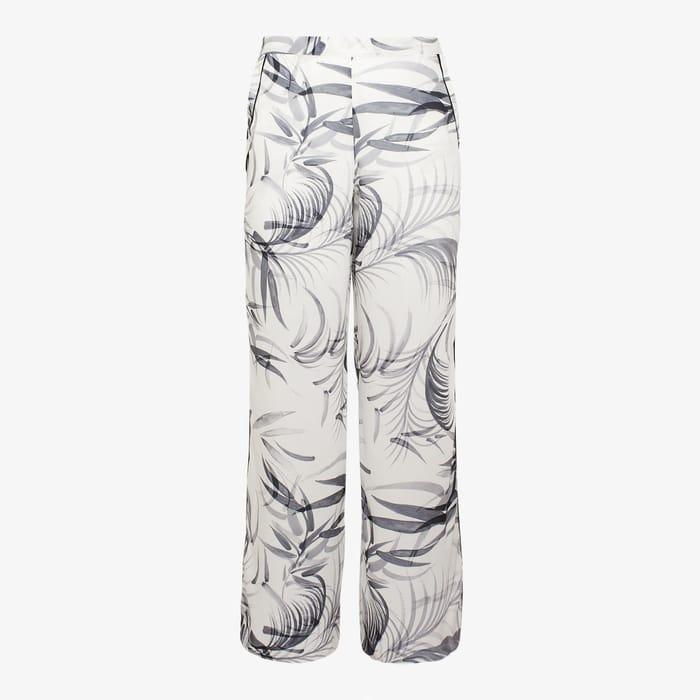 KLEY-White Leaf Print Long Loungewear Bottoms