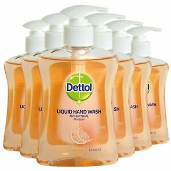6 X 250ml Dettol Grapefruit Hand Wash Soap Kills Bacteria & Viruses