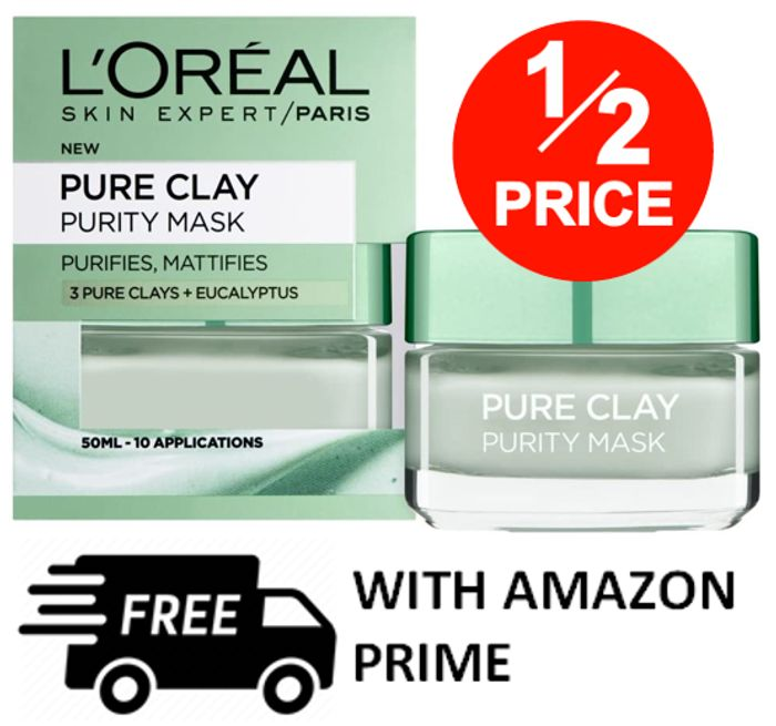 AMAZON #1 BEST SELLER - HALF PRICE! L'Oreal Pure Clay Face Mask 50ml