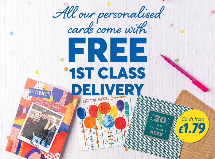 Free 1st Class Delivery on All Personalised Cards - Prices from £1.79