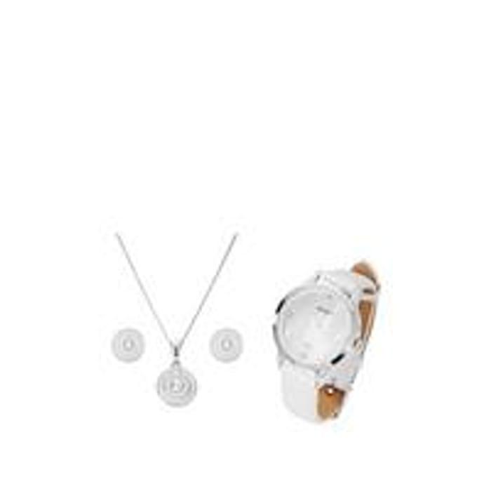 Evoke Sterling Silver Swarovski Crystal Jewellery & Watch Set
