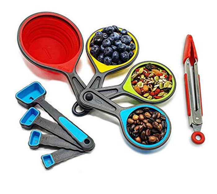 """30% off Measuring Cups and Spoons Sets with 7"""" Silicone Kitchen Tongs Utensil"""
