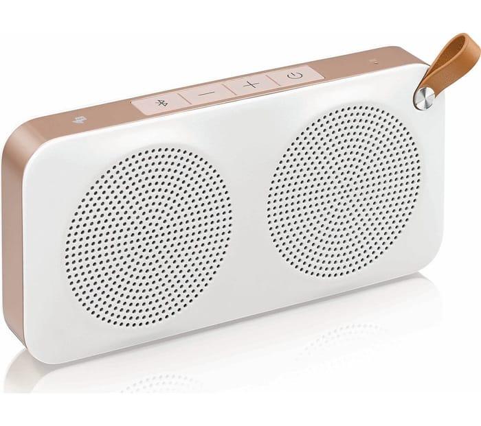 JVC SP-AD60-M Portable Bluetooth Wireless Speaker - White & Gold