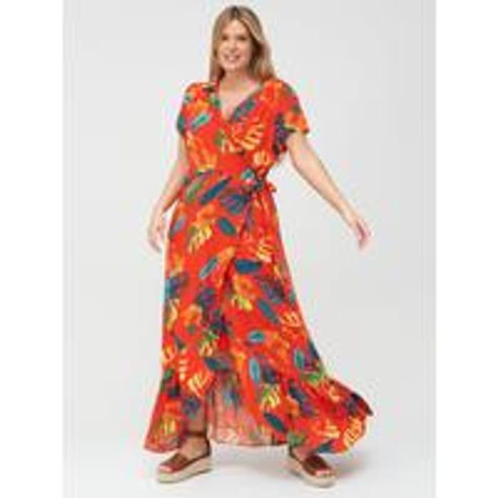 V by Very Curve Printed Viscose Wrap Dress - Tropical Print