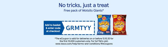 Free Pack of Wotsits Giants with Your Online Order Using Code at Tesco