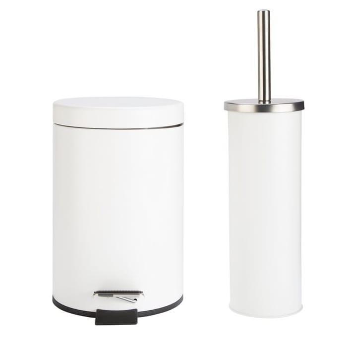 Argos Home Slow Close Bin and Toilet Brush Set - White