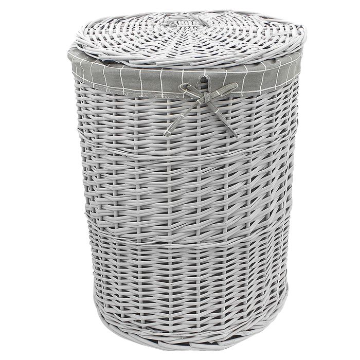 Round Grey Wicker Laundry Basket With Lid - £15 Delivered