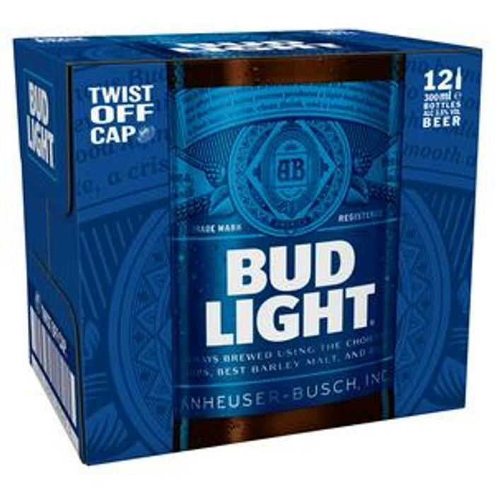 Bud Light Lager Beer Bottles 12x300ml