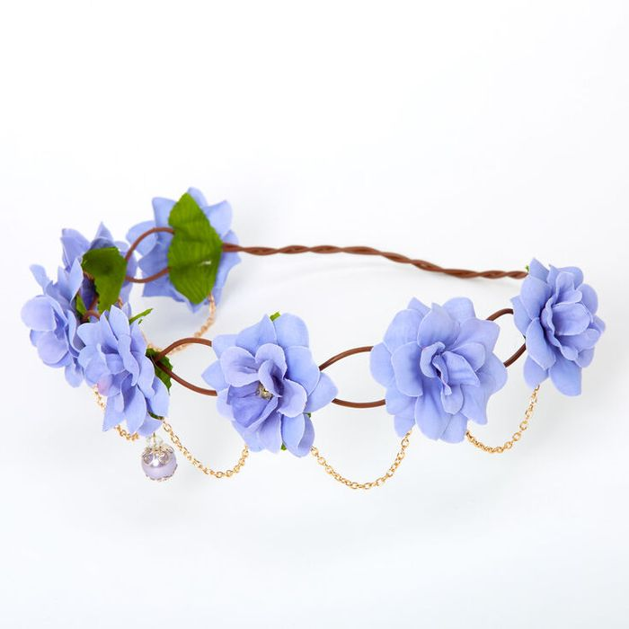 Gold Chain Flower Vine Headwrap - Dusty Blue