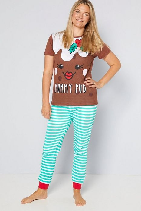 Ladies Mummy Pud Family Christmas Pudding Pyjamas - Only £8!