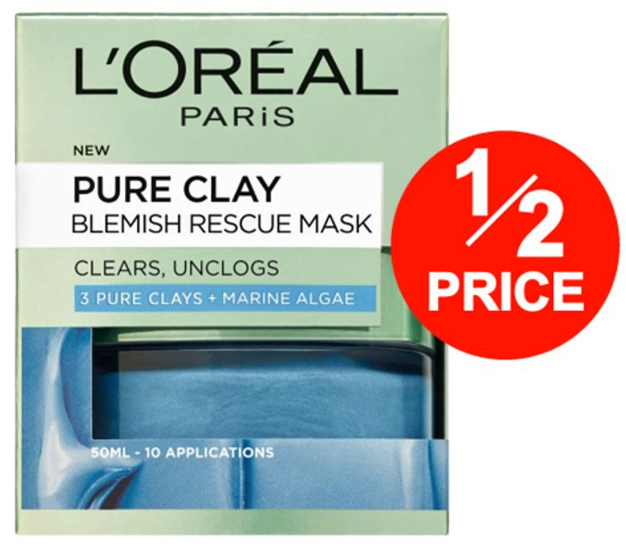 L'Oreal Pure Clay BLEMISH RESCUE Blue Algae Face Mask 50ml