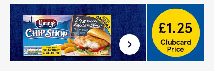 Youngs Chip Shop 2 Fish Fillet Quarter Pounders 227G Clubcard Price £1.25