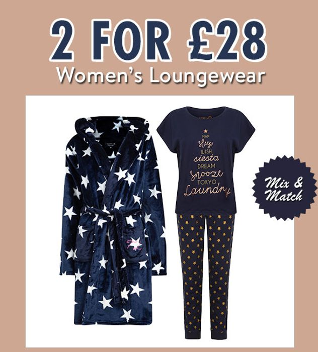 Mix & Match - 2 for £28 Womens Loungewear.