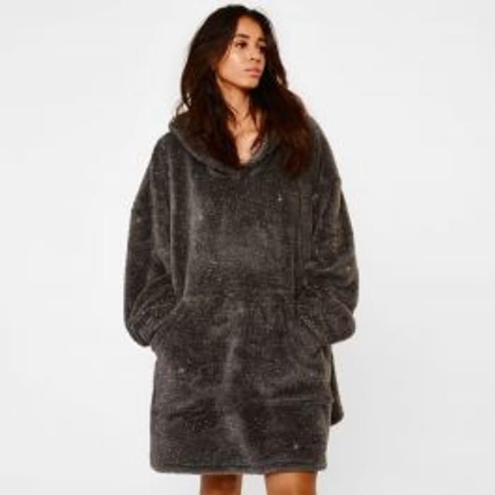 Cheap Sienna Teddy Fleece Glitter Hoodie Blanket - Charcoal Grey Only £13.99!
