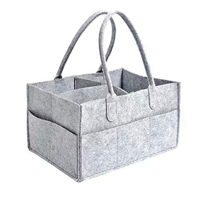 Portable Nursery Storage Bin Felt Basket with Changeable Compartments