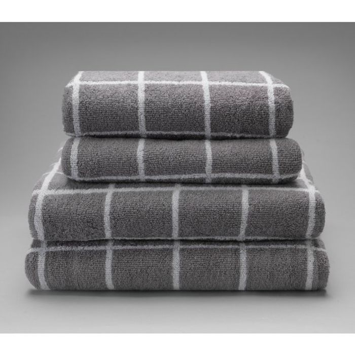 Argos Home Grid 4 Piece Towel Bale - Grey