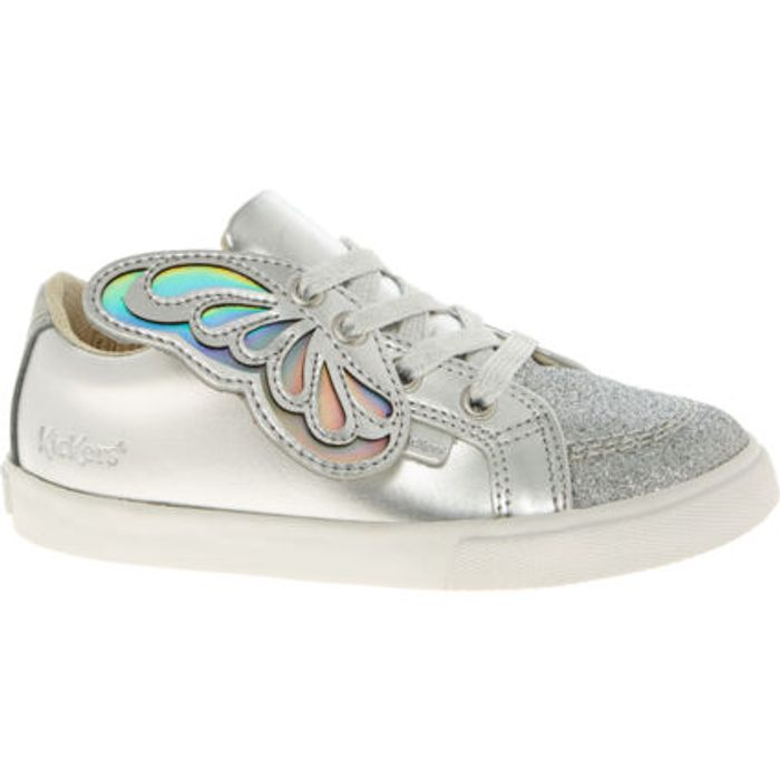 Best Price! KICKERS Silver Leather Butterfly Trainers