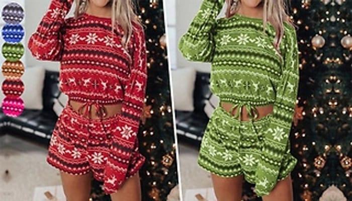 2-Piece Christmas Pyjama Set - 6 Colours & 3 Sizes