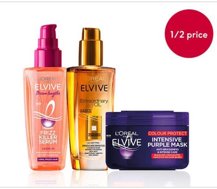 1/2 Price on Selected Haircare And 1/2 price on selected LOreal Elvive